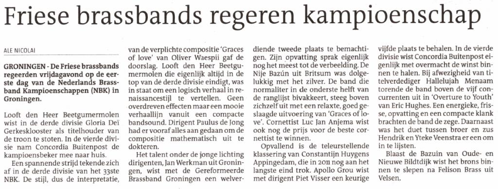 uit de Leeuwarder Courant van zaterdag 7 december 2013